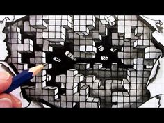 How to Draw an Optical Illusion: Falling Cubes 3D: Hole in Paper - YouTube