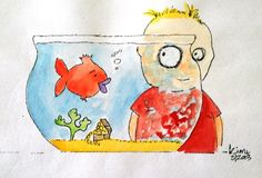 My own art: Fatley and the fishbowl by Kim Muirhead