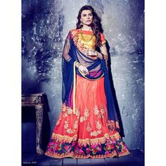 Peach Border Work Soft Net Lehenga Choli - 16079 ( ML-945 )
