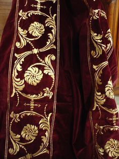 "Embroidered French Velvet - Embroidered Royal Velvet Fabric and Border from 10th Generation Lyon Fabric House Velvet with Metallic Thread (will not tarnish). Available in ""Royal Blue"" or ""Bordeaux"" with either Fleurs de Lys or Lions. Ships from France"