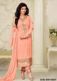 Peach Georgette Semi-Stiched Embroidered Dress Material