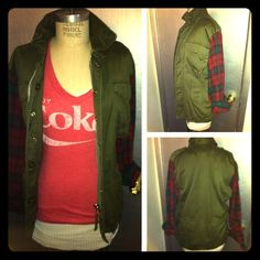 Distressed Army jacket w/ plaid sleeve detail Sumptuous vintage khaki and plaid come together to make this piece a show stopper, it is fully lined with zipper and button detailing. Gently used worn maybe twice, and looks great in every season! LF Jackets & Coats