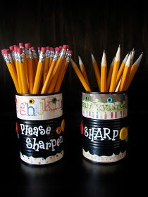 Controlling My Chaos: Recycled Cans Turned Pencil Containers for School