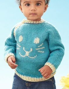"""Free Knitting Pattern for Baby Funny Bunny Pullover - Baby sweater to fit chest measurement 6 mos 17"""" [ 43 cm ] 12 mos 18"""" [ 45.5 cm ] 18 mos 19"""" [ 48 cm ] 24 mos 21"""" [ 53.5 cm ]"""