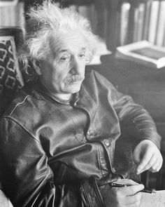 """""""Long hair minimizes the need for barbers; socks can be done without; one leather jacket solves the coat problem for many years; suspenders are superfluous."""" -Albert Einstein #genius #Einstein #IQ #truth #quotes #leatherjacket"""