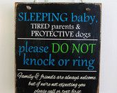 Items similar to Sleeping Baby Do Not Knock or Ring Distressed Rustic Do Not Disturb Hanging Wood Sign for Front Door on Etsy