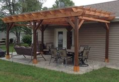 Covered Pergola Plans 12x24' Outside Patio Wood Design by CinciPro