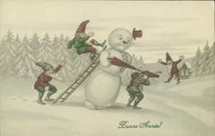vintage French Happy New Year card - snowman & elves