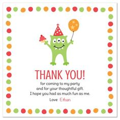 Cute Birthday Party Thank You Card Featuring A Funny Looking Green Little Monster With Three Eyes
