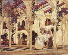 Peinture Algérie - Dans la cour d'un palais mauresque à Alger par Léon Cauvy