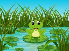 Nehir sahne mutlu kurbağanın üzerindeki yaprak ile Free Vector Images, Vector Free, Pikachu, Royalty, Scene, Leaves, River, Illustration, Happy