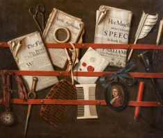 Edwaert Collier (c.1640-c.1707)  —   Trompe l'oeil, Letter Rack, c. 1700 : Hunterian Art Gallery, University of Glasgow,  Glasgow, Scotland.  UK (1200×1015)