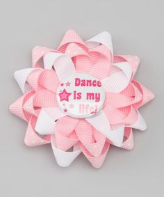 Take a look at this Pink & White 'Dance is My Life' Button Bow by Lil Miss Sweet Pea on #zulily today!
