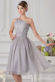 black mid calf halter evening dress | Gray A-Line Knee Length Chiffon One Shoulder With Straps Evening Dress