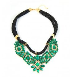 Shourouk Emerald Crystal Stone Cluster Braided Chain Statement Necklace