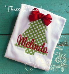 Christmas Shirt, Girls Christmas Tree Shirt Monogrammed Personalized Applique Girl by threelulus on Etsy https://www.etsy.com/listing/168385789/christmas-shirt-girls-christmas-tree
