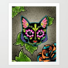 Day of the Dead Cat in Black Sugar Skull Kitty art print by Pretty In Ink.
