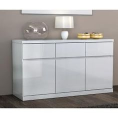 Arielle buffet sideboard in high gloss white sideboards for White gloss kitchen units cheap