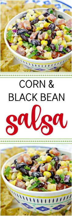 This Corn and Black Bean Salsa is so easy to make with a few canned goods and some fresh cilantro and lime juice! It's the perfect dip for cookouts and a great addition to taco night or any Mexican themed family meal. via @Mom4Real