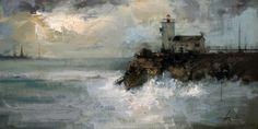 Ricardo Galan Urrejola - Faro VI - Óleo sobre lienzo (38 x 73 cm.)