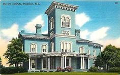 Hoboken New Jersey NJ 1940s Stevens Institute Antique Vintage Linen Postcard
