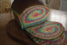 Rainbow bread!! superfun. If I can figure out how to make bread.