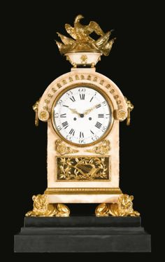 c1780-85 An Italian Neoclassical ormolu-mounted white marble mantel clock, attributed to the workshop of Luigi and Guiseppe Valadier Rome, circa 1780-1785 50,000 — 80,000 USD. unsold