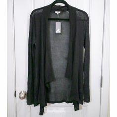 Black Splendid Sweater Black sheer cotton sweater. Longer in the front. Loose fitting sleeves. NWT Splendid Sweaters Cardigans
