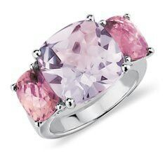Lavender amethyst & pink tourmaline ring