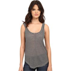 Paige Shaelyn Stripe Tank Top (Black/White) Women's Sleeveless ($40) ❤ liked on Polyvore featuring tops, black, black and white striped top, striped tank top, scoop neck tank top, striped top and striped tank