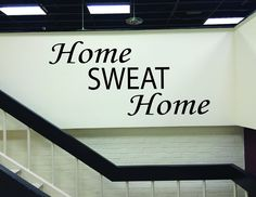 "Fitness Wall Decal, Health Club Decor, Home Gym Wall Decal HOME SWEAT HOME. This listing is for the ""HOME SWEAT HOME"" wall decal. The weights, bench, treadmill, or anything else seen in the photo is not included. Depending on size, this decal will take anywhere from 15min-30min to install. The vinyl has a matte finish so it will have a clean painted on look. The larger decal sizes will come in multiple pieces for easier install and shipping. The decal is removable, but not reusable once..."