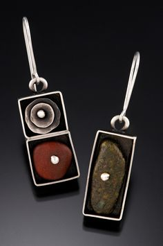 by Susan Richter-O'Connell. Earrings sterling silver, river rock