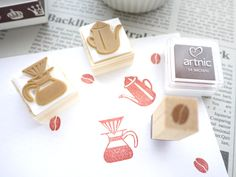Coffee rubber stamp, Rubber stamp set, Cafe gift idea, Japanese stationery by JapaneseRubberStamps on Etsy