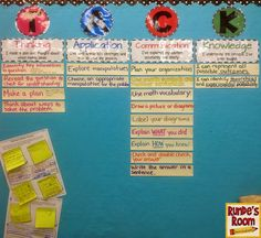 Building Better Answers in Math - TACK board for math learning goals - Thinking, Application, Communication, and Knowledge - post goals as students work through them.  Change out knowledge at the end of each unit.