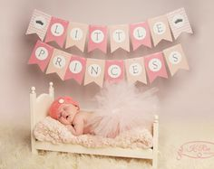 Little Princess Baby Shower Party - PRINTABLE Banner, pink peach chevron, by MyPartyDesign - Instant Download
