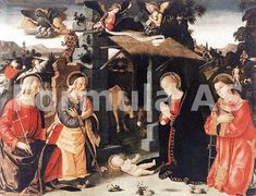 Antoniazzo Romano : Nativity with Saints Lawrence and Andrew (Galleria Nazionale d'Arte Antica di Palazzo Barberini (Italy - Rome)) アントニアッツォ・ロマーノ Italian Christmas Traditions, Italian Renaissance, Counted Cross Stitch Patterns, Religious Art, Painting & Drawing, Traditional, Drawings, Illustration, Image