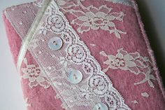 Notebook cover - wool felt and vintage lace £20.00