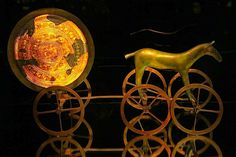 The 'Solvognen', also known as the 'Trundholm Sun-Chariot'; excavated from a burial mound at Trundholm Mose in North-Western Zealand [Denmark]. This Nordic funerary artifact represents arguably one of the finest example of Norse craftsmanship from the Early Bronze-Age period.