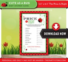 PRICE is RIGHT Baby Shower Game Cute as a Bug by thepartystork, $6.99