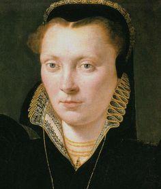 "1568 - Detail: Katherine Clough, ""Katherine of Berain"". Artist: attr. Adriaen van Cronenburgh National Museum of Wales."