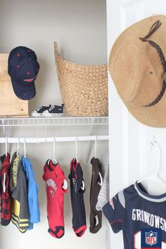 The closet of the youngest Patriots fan has us ready for a wardrobe makeover. Display your favorite hats for an extra dose of team spirit.