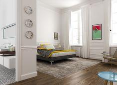 chambre moderne avec tapis gris, lit deux places, déco aux accents colorés et table d'appoint vintage en bleu cyan