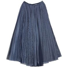Pre-owned Chanel Grey & Black Mesh Overlay Pleated Maxi Skirt ($769) ❤ liked on Polyvore featuring skirts, bottoms, sijonai, none, long pleated maxi skirt, gray skirt, pleated skirt, floor length skirt and long gray maxi skirt