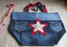 Garyusha Denim Bags Design, Denim Riga, Latvia by GaryushaDenimBags Big Tote Bags, Denim Tote Bags, Beach Tote Bags, Recycled Denim, Market Bag, Shopper Bag, Handmade Bags, Travel Bag, Reusable Tote Bags