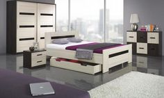 Bedroom, Exciting And Interesting Designs Of Bedroom With Black And White Low Profile Dresser That Look So Elegant And Amazing For Your Bedroom Wtih Big Cupboard Also Bed With Lockr And Purple Sofa ~ Some Beautiful And Neat Bedroom Design With Using Low Profile Dresser