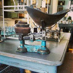 cast iron scale with original weights and killer blue paint  Scarlett Scales Antiques - Franklin, Tennessee Hip Antique Boutique
