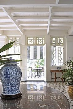 Clove Hall, Penang blue and white chinoiserie ginger jar beachy decor