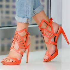 Orange Cut out Sandal Heels