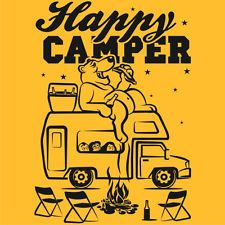 Camping HAPPY CAMPER T-Shirt Bear in Woods Hiking Outdoors Tee 5 Colors S - 5XL