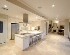 Image result for contemporary kitchen with travertine floors